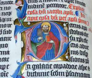 Latin Bible, Malmesbury Abbey, Wiltshire, England